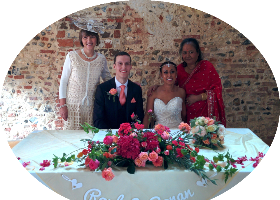 Bride, groom and mums